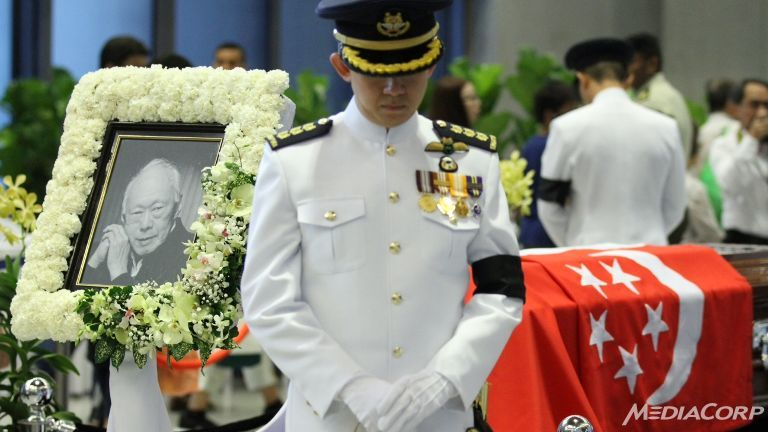 Mr Lee Kuan Yew lying in state at Parliament House. Picture by Xabryna Kek.