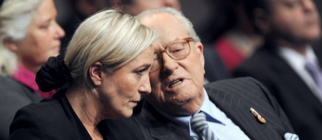 Marine Le Pen and her father, Jean-Marie Le Pen. Picture by Alain Jocard | AFP