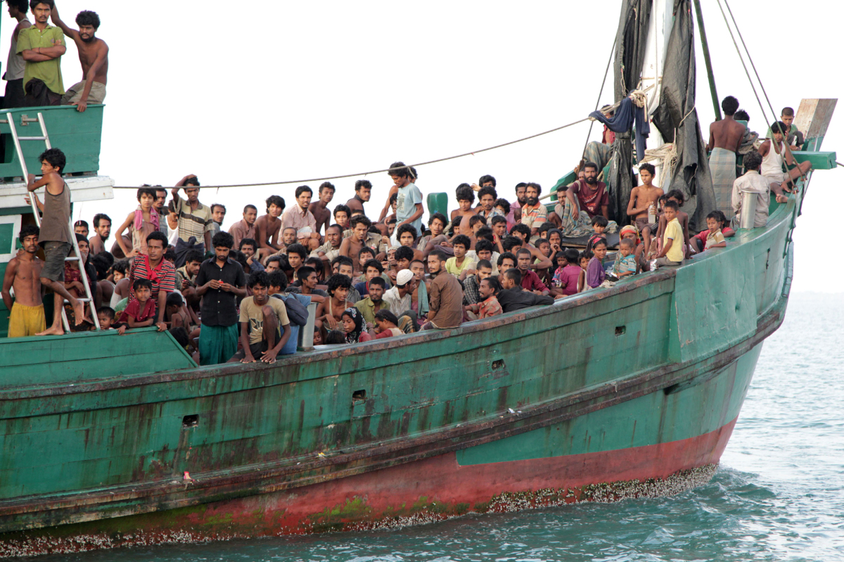 Migrants stranded in the Andaman Sea in May. Picture by S. Yulinnas | AP