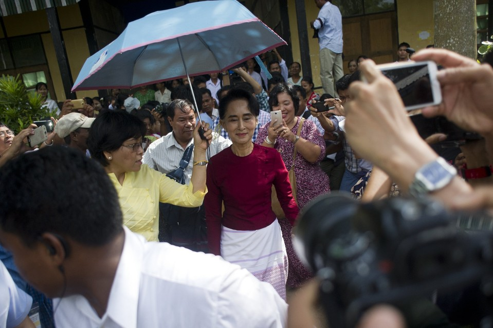 Aung San Suu Kyi, the leader of Myanmar's opposition National League for Democracy, at a polling station in Kawhmu. Picture by Ye Aung Thu | AFP/Getty Images