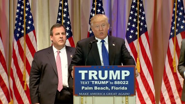 Donald J. Trump and Chris Christie at Trump's Super Tuesday speech in Palm Beach, Florida, March 1st, 2016