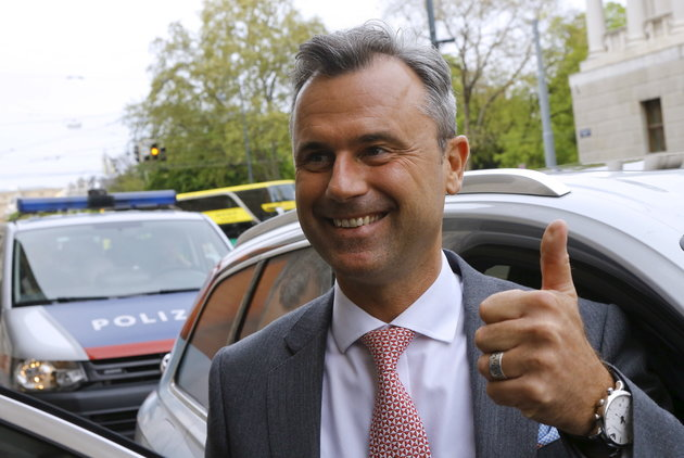 Presidential candidate Norbert Hofer arrives at the party headquarter of the Austrian Freedom party (FPO) in Vienna, Austria, April 24, 2016. REUTERS/Heinz-Peter Bader