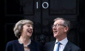 Theresa May and husband Philip outside of 10 Downing Street.