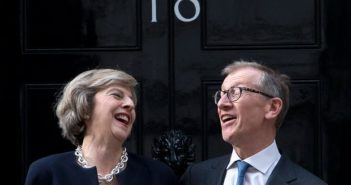 Theresa May and husband Philip outside of 10 Downing Street.