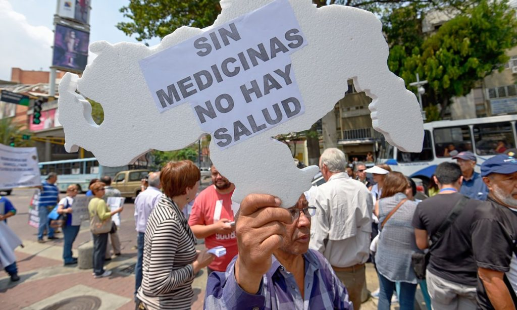 Protestors in Venezuela decry the shortage of medicine in the country. Photo | Barreto/AFP/Getty Images.