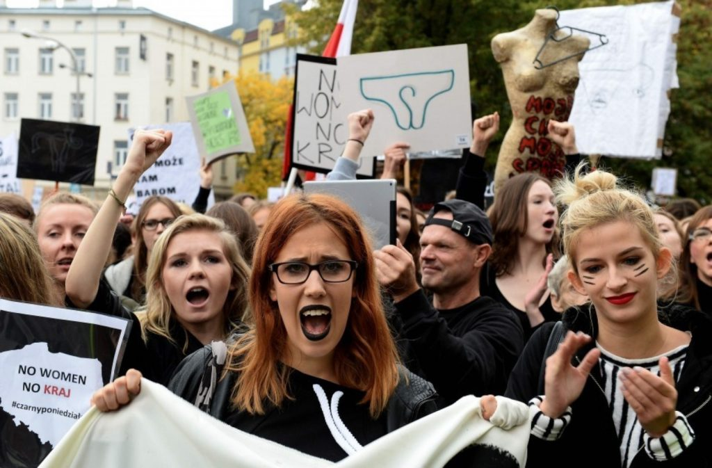 Polish women protest in Warsaw against government plans for a complete ban of abortion. (Janek Skarzynski/AFP via Getty Images)