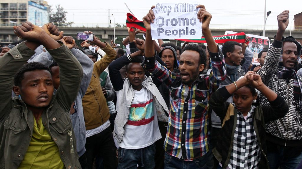 Protesters during an Aug. 6 demonstration in Addis Ababa. Photo | Tiksa Negeri of Reuters